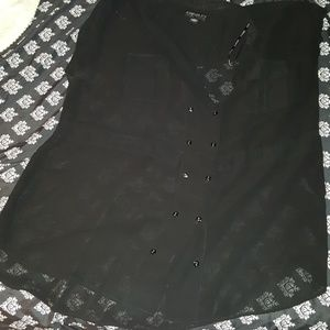 2X F21 Sheer black button up blouse with pockets